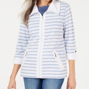NWT Karen Scott Zip-Front Casual Knit Jacket - M